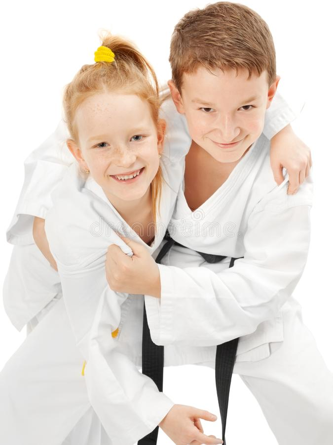 De jongen en het meisje van de karate stock foto