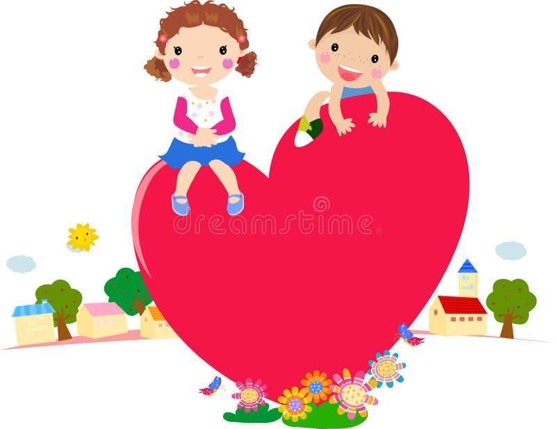 De jongen en het meisje van het beeldverhaal in liefde vector illustratie