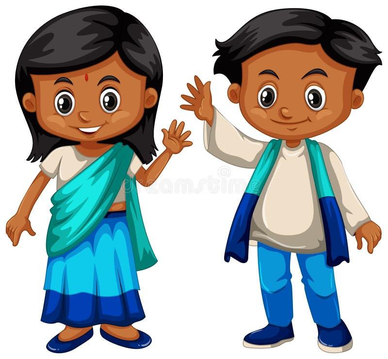 De jongen en het meisje van Sri Lanka in traditioneel kostuum royalty-vrije illustratie
