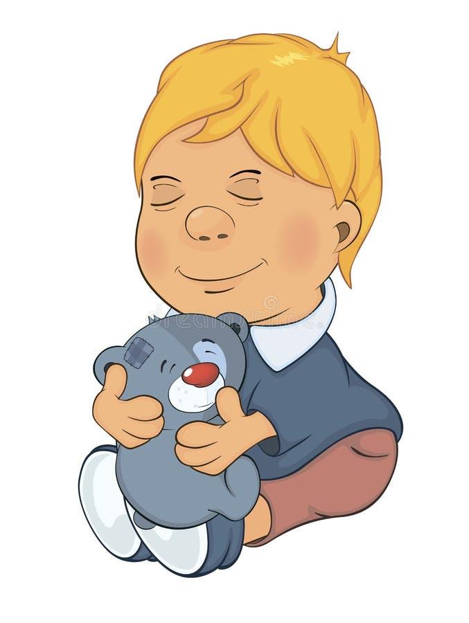 De jongen en het stuk speelgoed dragen welpbeeldverhaal royalty-vrije illustratie