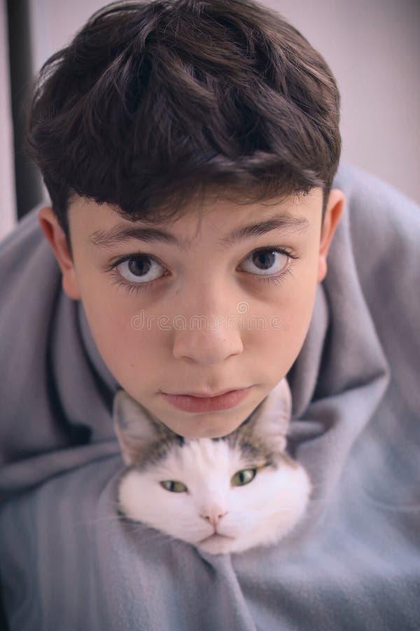 De jongen en de katten de vrienden van het tienerjonge geitje sluiten omhoog grappig portret stock afbeeldingen