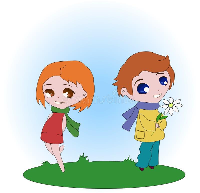 De jongen geeft bloemen aan het meisje vector illustratie