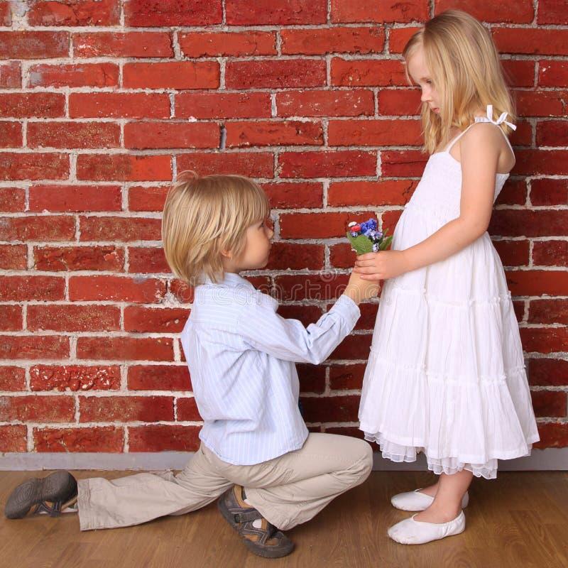 De jongen geeft een meisje bloeit royalty-vrije stock foto