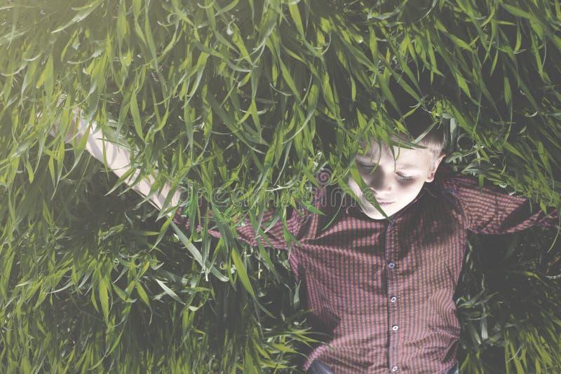 de jongen heeft pret rond rollend in de weide royalty-vrije stock fotografie