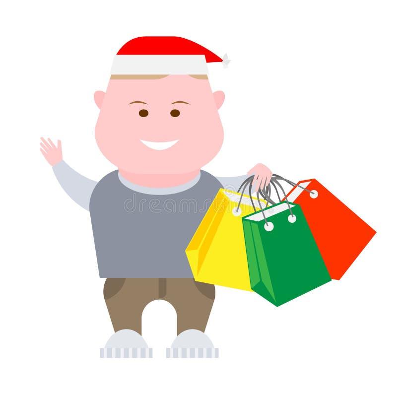 De jongen houdt het winkelen zakken royalty-vrije illustratie