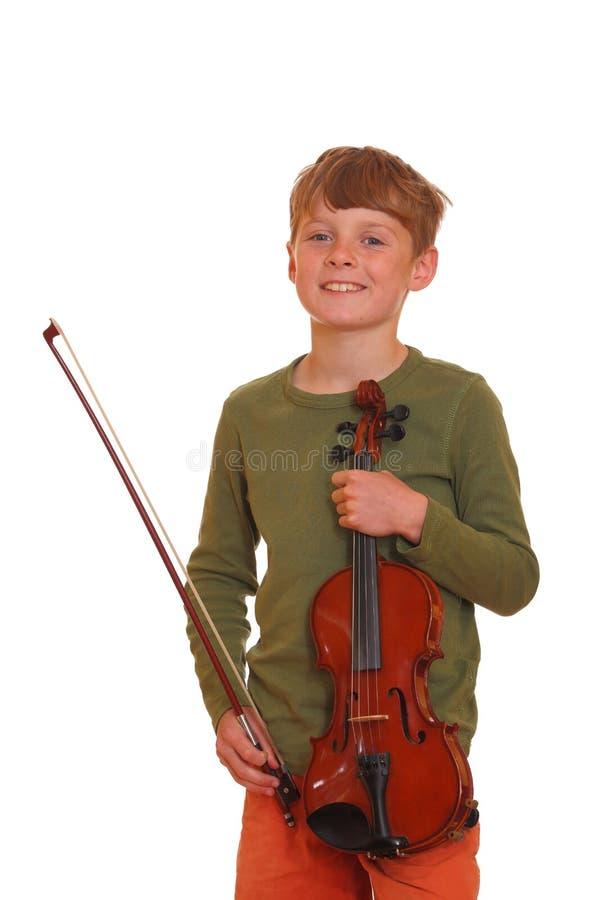 De jongen houdt viool royalty-vrije stock fotografie