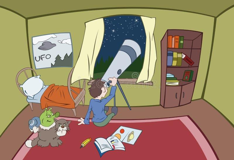 De jongen kijkt in een telescoop royalty-vrije illustratie