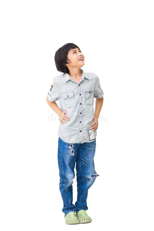 De jongen kijkt omhoog royalty-vrije stock fotografie
