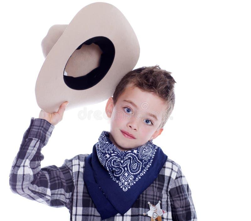 De jongen kleedde zich als cowboy royalty-vrije stock afbeelding