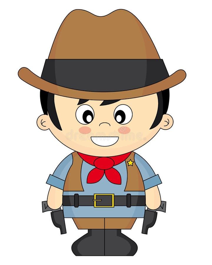 De jongen kleedde zich als cowboy royalty-vrije illustratie