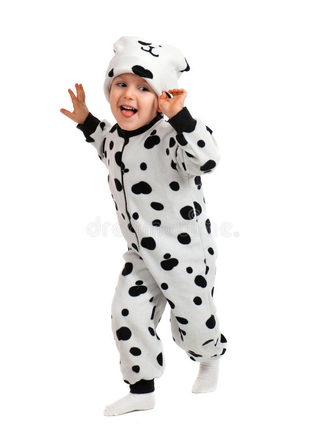 De jongen kleedde zich in Dalmatisch kostuum stock fotografie