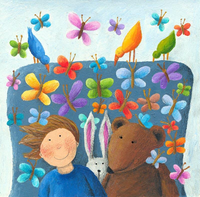 De jongen, konijn en draagt in de fantasieleunstoel stock illustratie