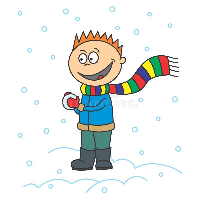 De jongen maakt een sneeuwbal royalty-vrije illustratie