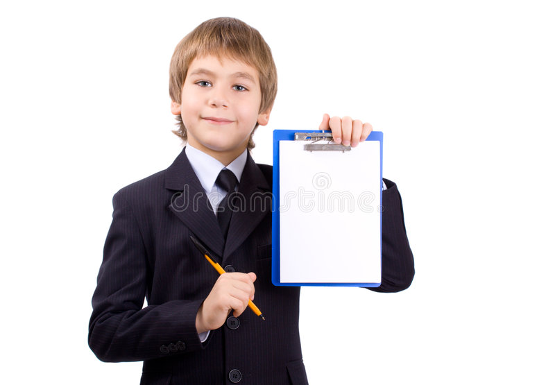 De jongen met een raad voor schrijft, geïsoleerdÀ stock afbeelding