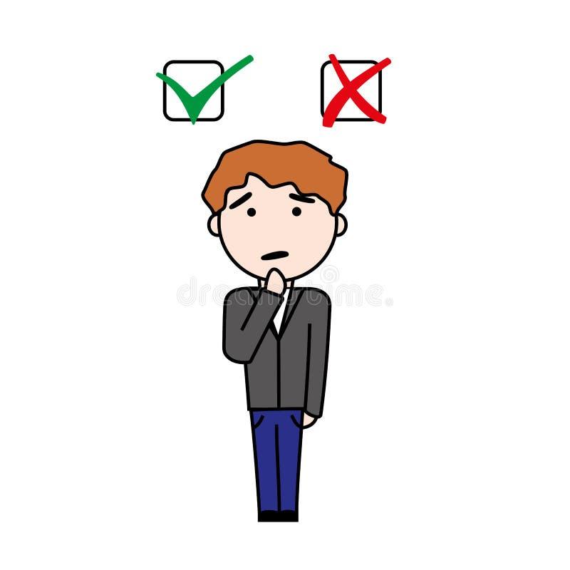 De jongen neemt besluit beetween ja of geen vraag vector illustratie
