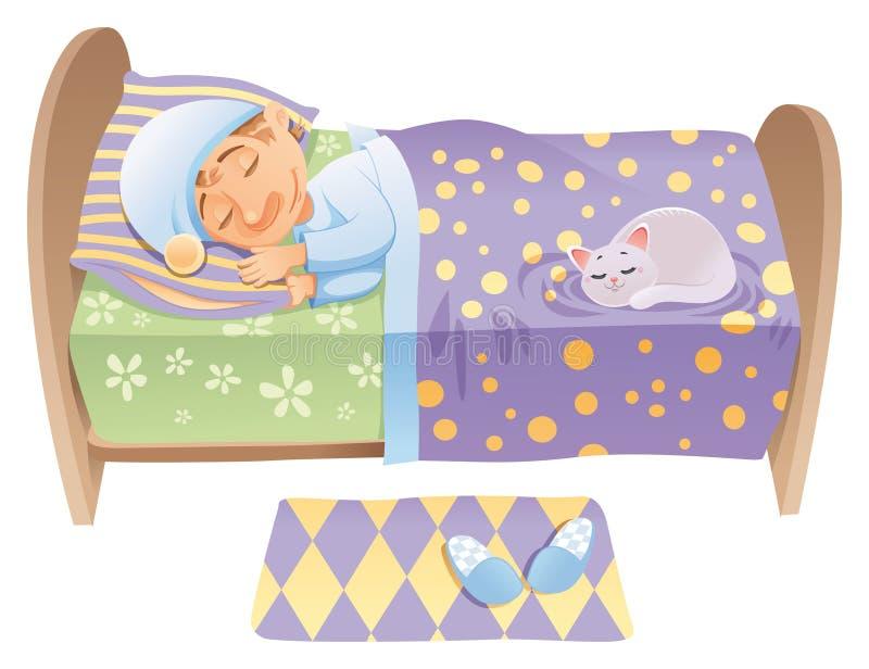 De jongen slaapt in zijn bed stock illustratie