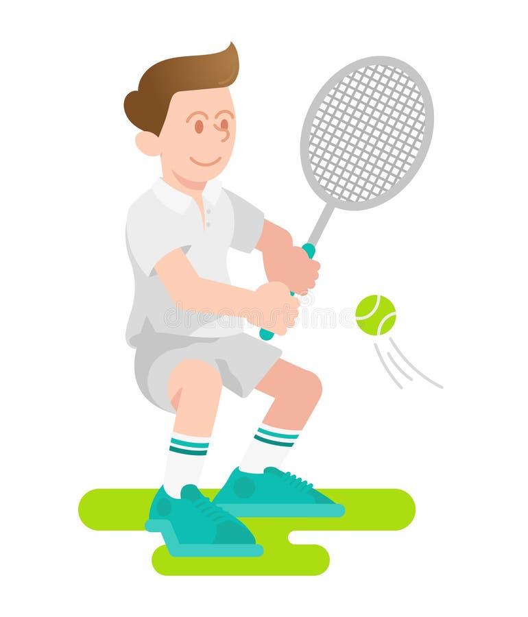 De jongen speelt een tennis vector illustratie