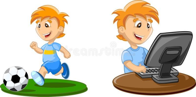 De jongen speelt op een computer vector illustratie
