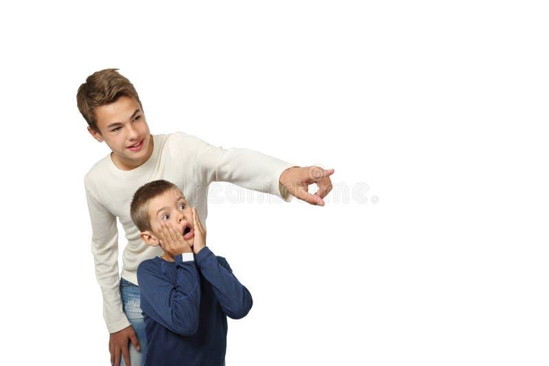 De jongen toont iets die aan zijn kleine broer verbazen stock foto