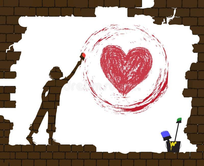 De jongen trekt een rood hart door verf op de oude gebroken bakstenen muur, het leven na oorlog, het nieuwe leven na rampenidee,  vector illustratie