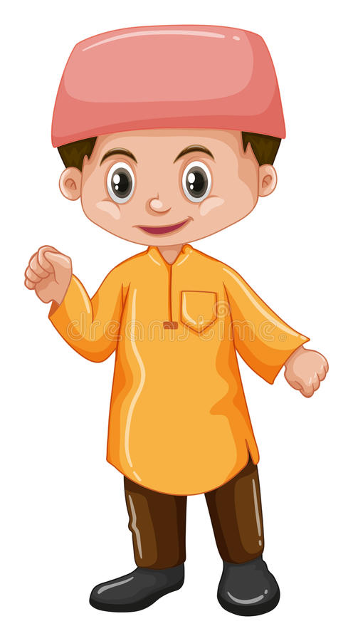 De jongen van Afghanistan in geel overhemd vector illustratie