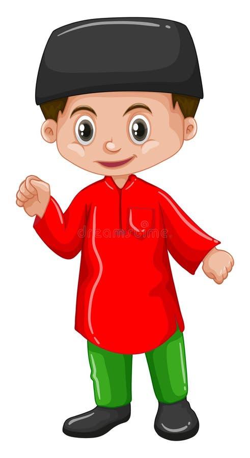 De jongen van Afghanistan in rood overhemd stock illustratie