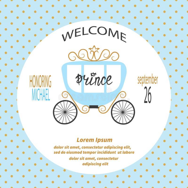 De jongen van de babydouche Het vectorontwerp van de uitnodigingskaart met prinsvervoer royalty-vrije illustratie