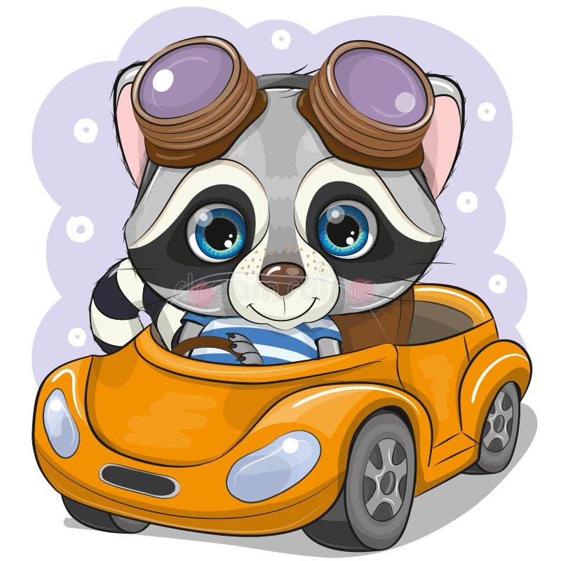 De jongen van de beeldverhaalwasbeer in glazen gaat op een Oranje auto royalty-vrije illustratie