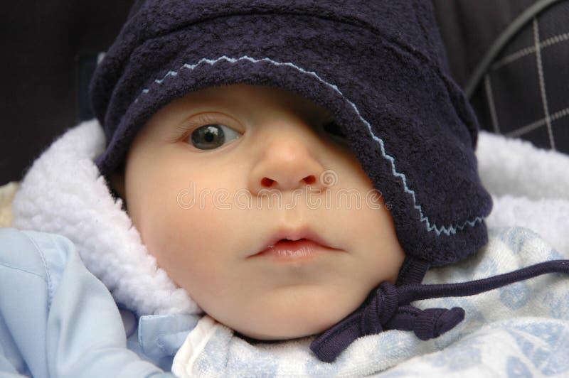De jongen van de baby in hoed stock foto