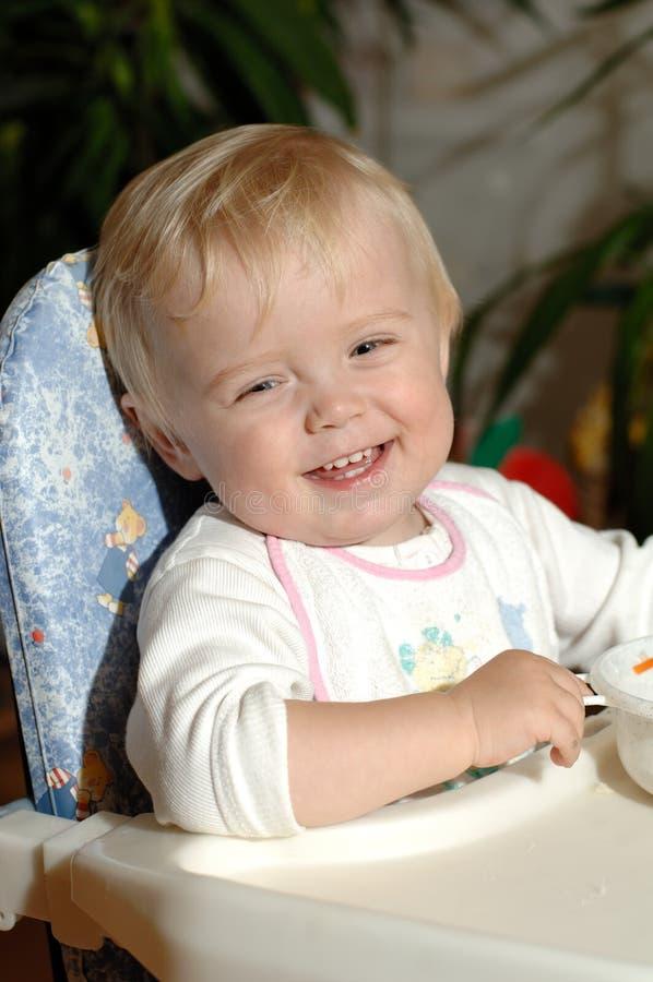 De jongen van de baby met glimlach stock foto's