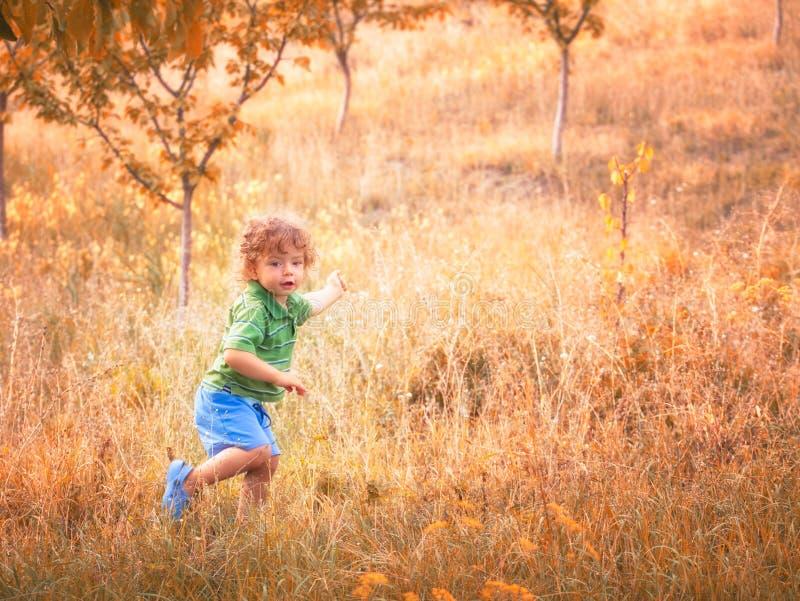 De jongen van de baby openlucht royalty-vrije stock afbeelding