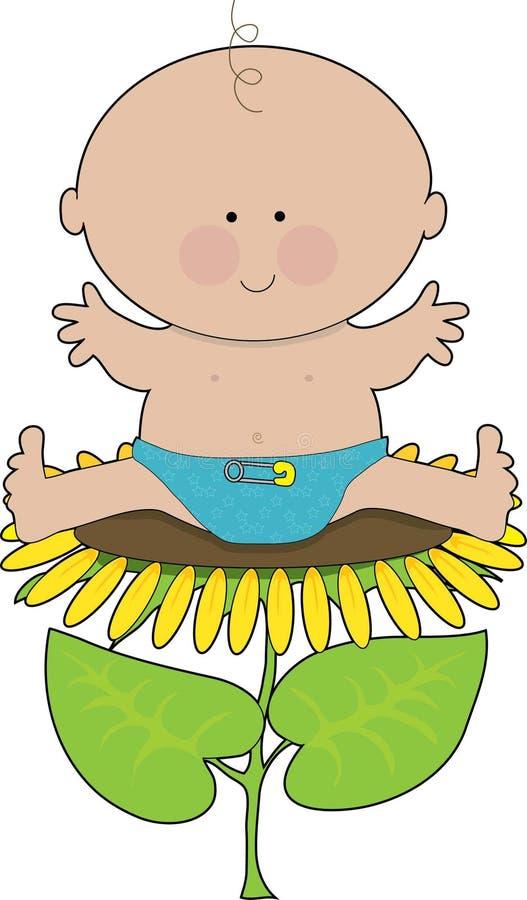 De Jongen van de Baby van de zonnebloem vector illustratie