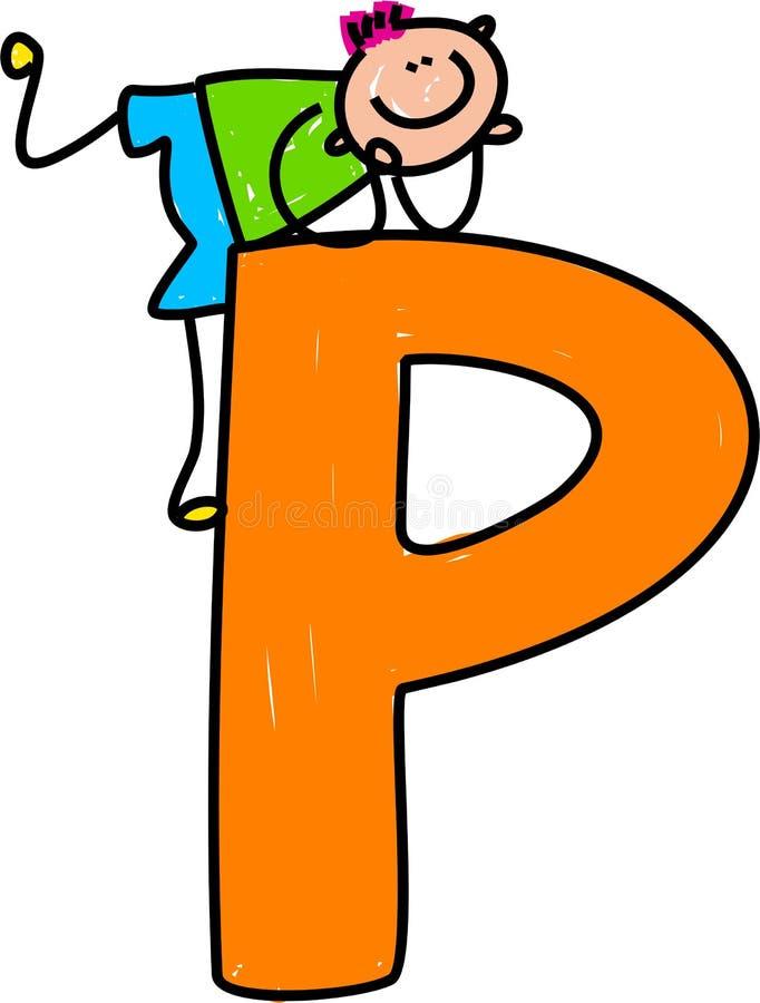 De jongen van de brief P stock illustratie