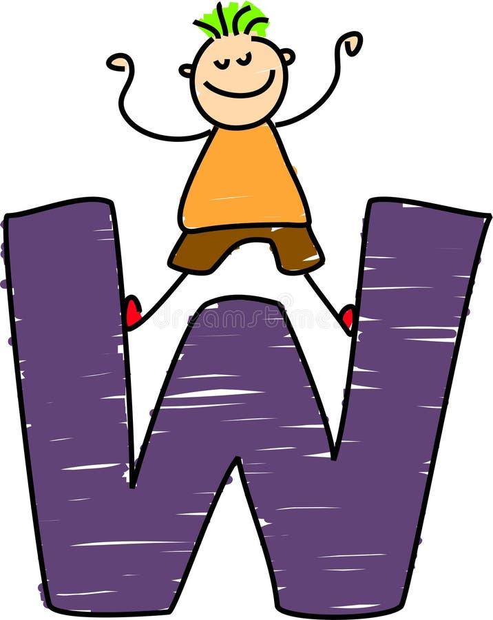 De jongen van de brief W vector illustratie