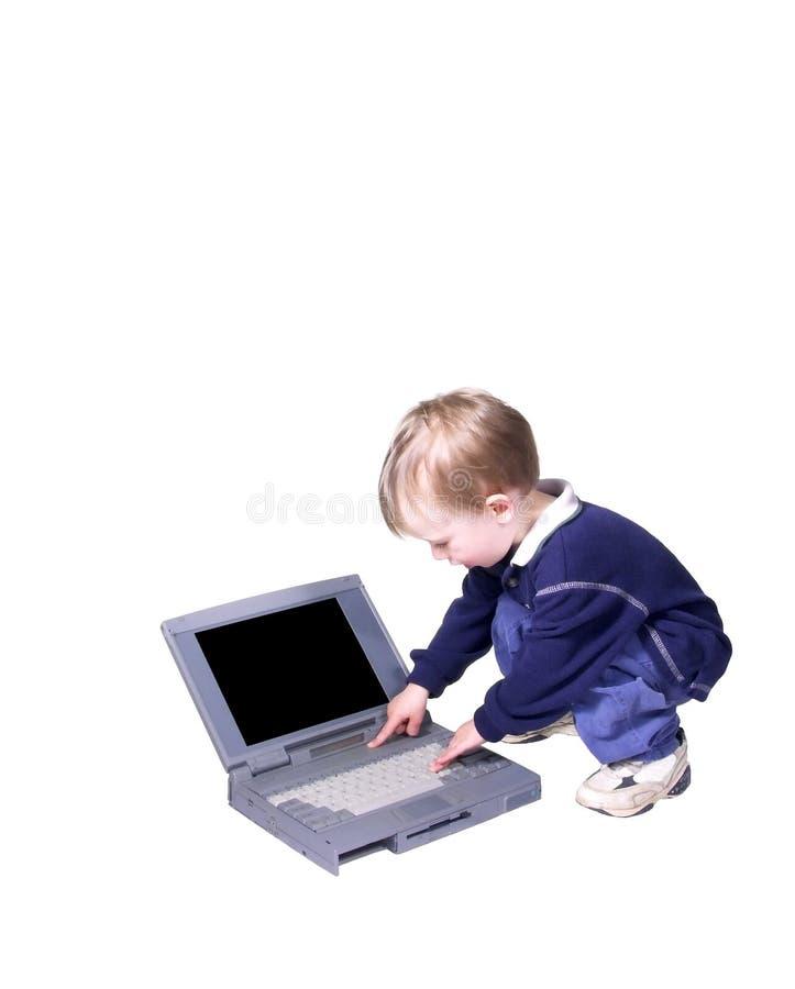 De jongen van de computer stock foto