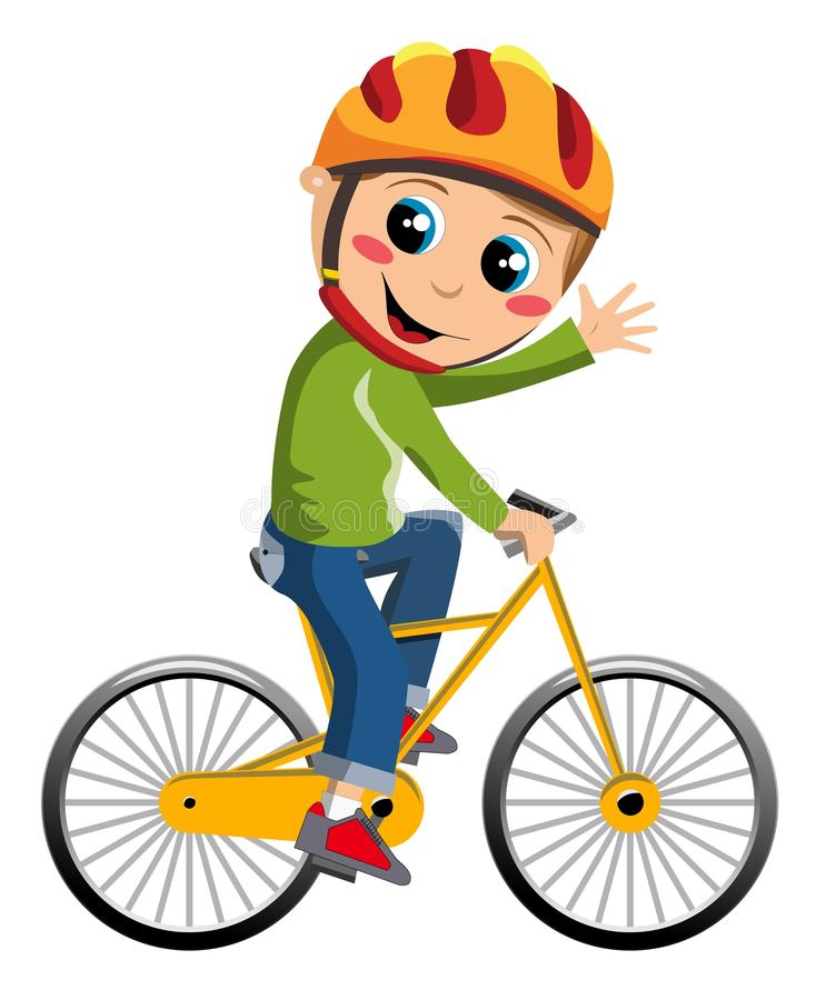 De Jongen van de fiets vector illustratie. Illustratie bestaande uit groeten - 27584390