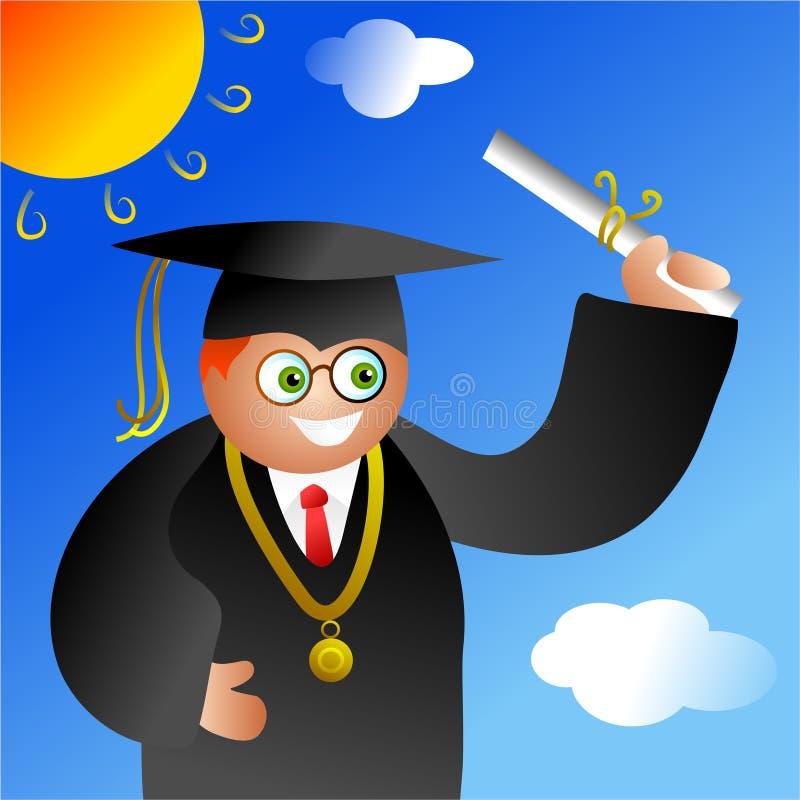 De jongen van de graduatie royalty-vrije illustratie