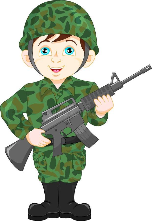 De jongen van de legermilitair het stellen stock illustratie