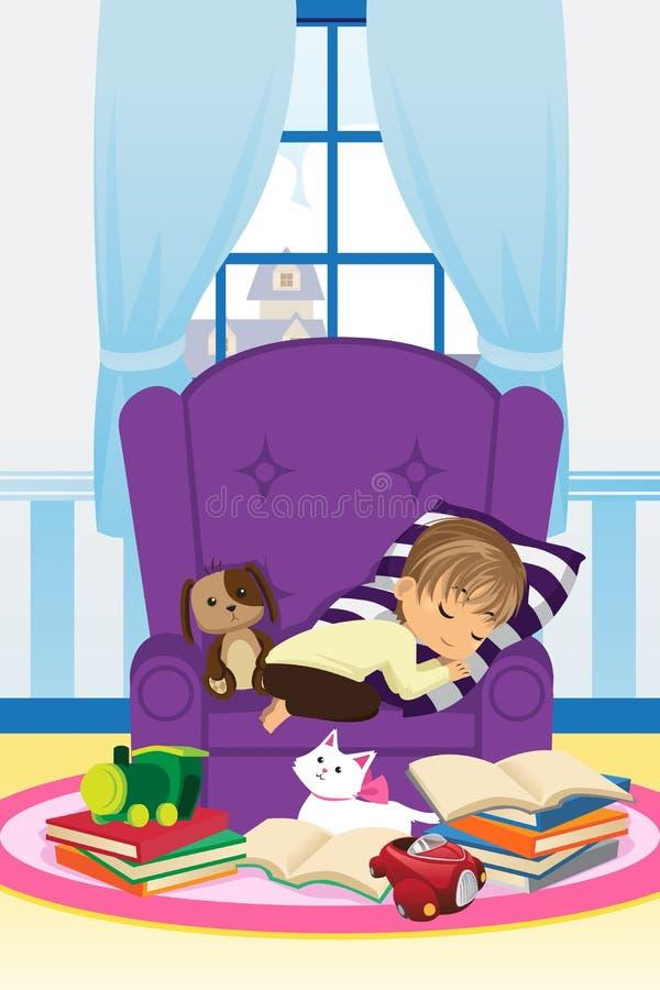 De jongen van de slaap met boeken vector illustratie