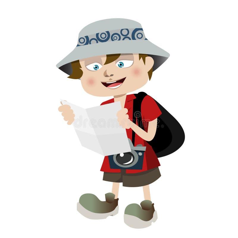 De jongen van de toerist stock illustratie