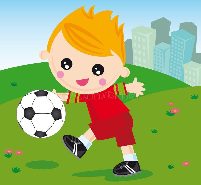 De jongen van de voetbal vector illustratie
