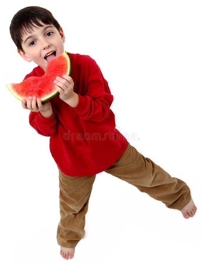 De Jongen van de watermeloen stock afbeelding