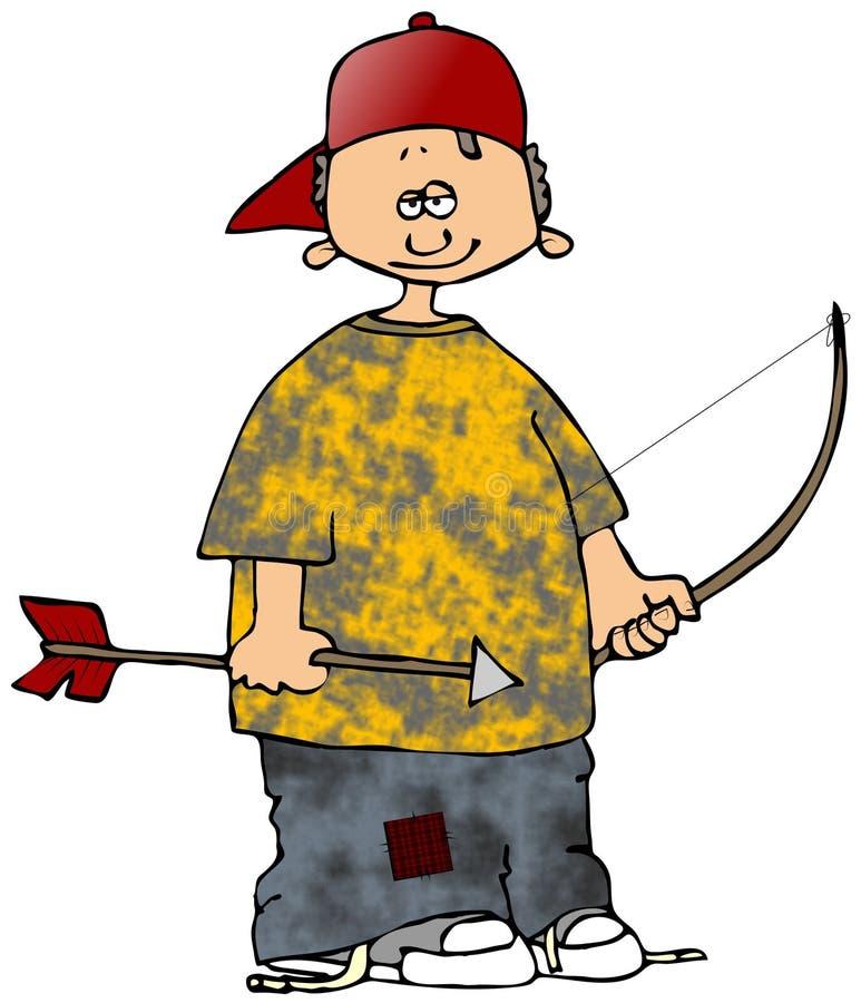De Jongen van het boogschieten stock illustratie