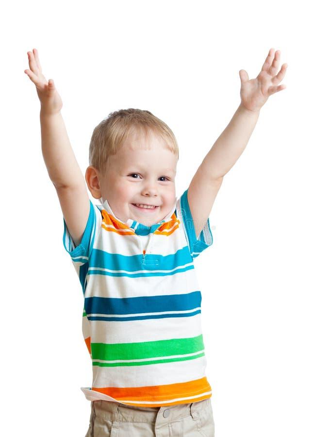 De jongen van het kind met handen omhoog op witte achtergrond stock afbeeldingen afbeelding - Teen moderne ruimte van de jongen ...