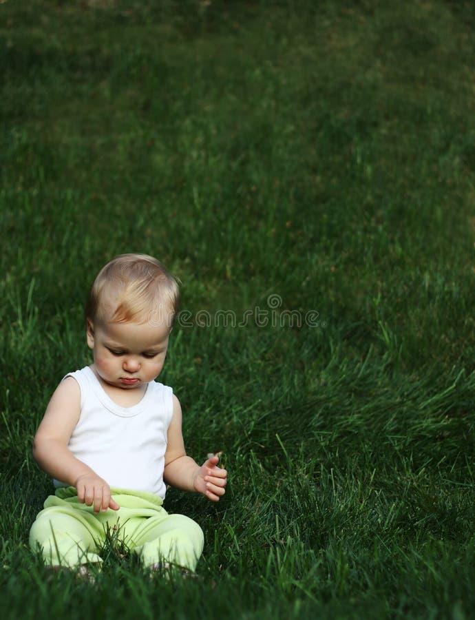 De jongen van Liitle op een gras stock afbeelding