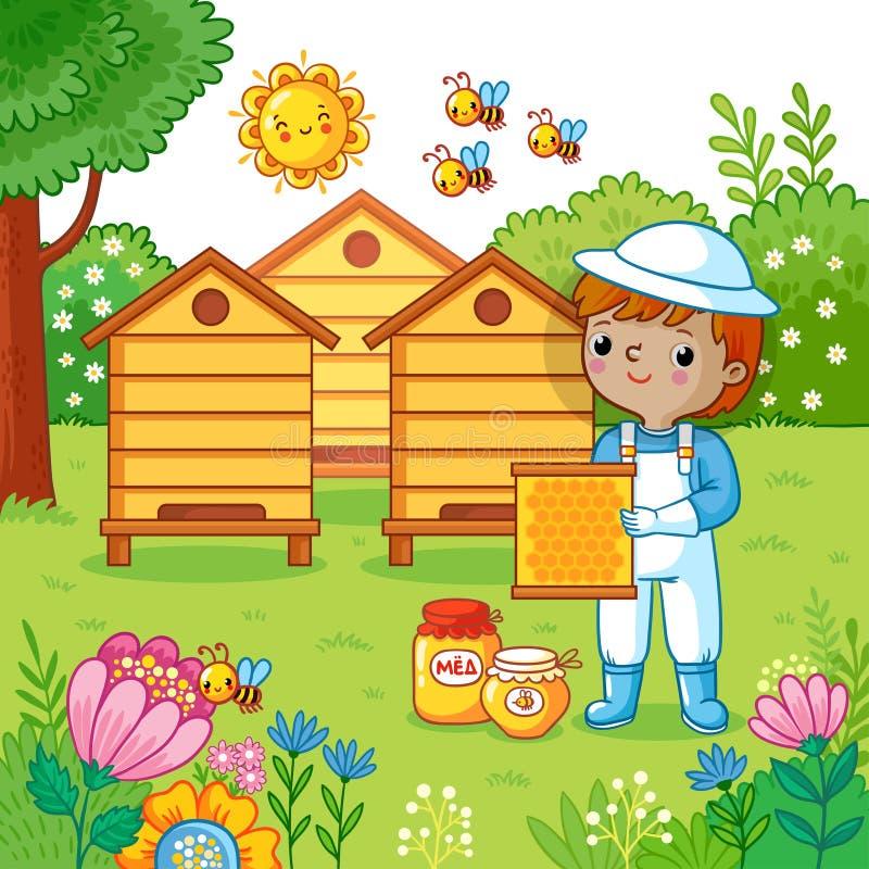 De jongen verzamelt honing royalty-vrije illustratie