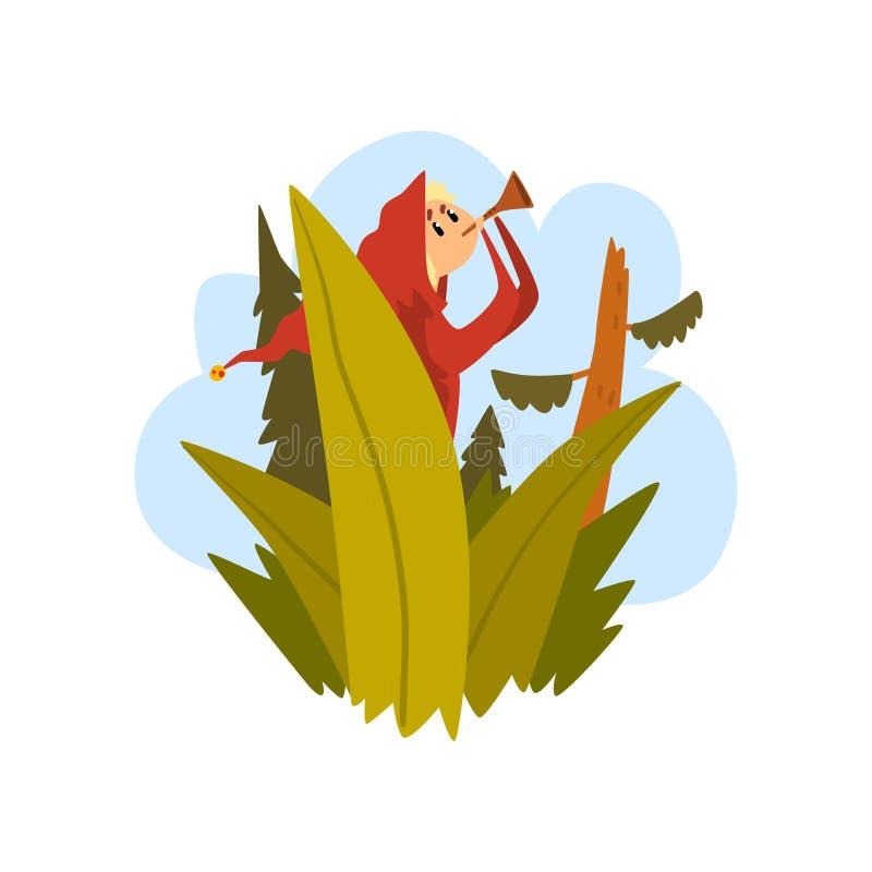 De jongen werd in het bos, kindzitting op een boom en het blazen in een pijp vectorillustratie wordt verloren op een witte achter royalty-vrije illustratie