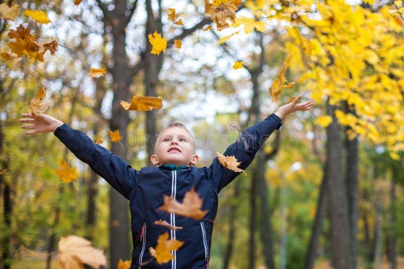 De jongen werpt de herfstbladeren Blij kind Park, de herfstdag stock afbeeldingen
