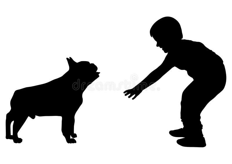De jongen wil het silhouet van de hondbuldog, vector strijken royalty-vrije illustratie
