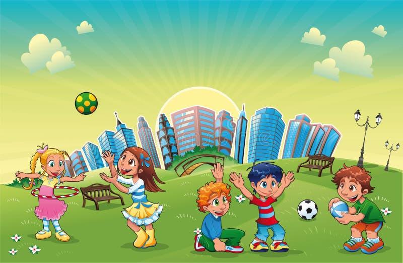 De jongens en de meisjes spelen in het park. vector illustratie